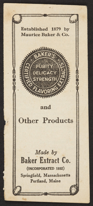 Coupon for Bakers Certified Flavoring Extracts, Baker Extract Co., Springfield, Mass. and Portland, Maine, undated