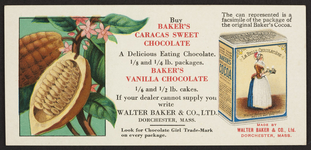 Trade card for Baker's Caracas Sweet Chocolate and Baker's Vanilla Chocolate, Walter Baker & Co., Ltd., Dorchester, Mass., undated
