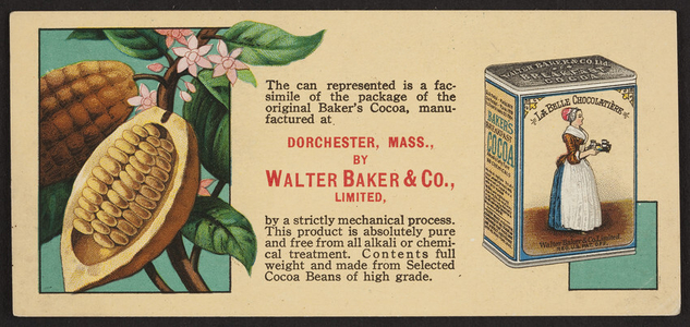 Trade cards for Baker's Cocoa, Walter Baker & Co., Ltd., Dorchester, Mass., undated