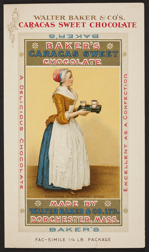 Trade card for Baker's Caracas Sweet Chocolate, Walter Baker & Co., Ltd., Dorchester, Mass., undated