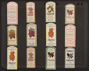 Sheet of extract labels, location unknown, undated