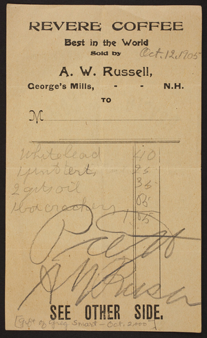 Billhead for A.W. Russell, George's Mills, New Hampshire, dated October 12, 1905