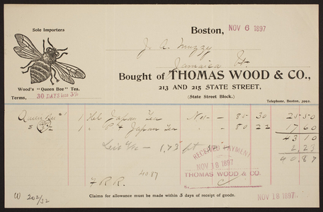 Billhead for Thomas Wood & Co., tea and coffee importer, 213 and 215 State Street, Boston, Mass., dated November 6, 1897