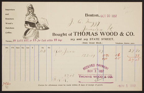Billhead for Thomas Wood & Co., coffee and tea importer, 213 and 215 State Street, Boston, Mass., dated October 20, 1897