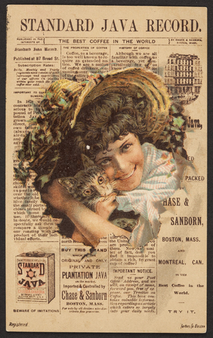 Trade card for Standard Java, coffee, Chase & Sanborn, Boston, Mass. and Montréal, Canada, undated