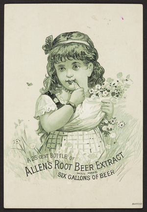 Trade card for Allen's Root Beer Extract, Lowell, Mass., undated