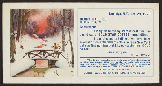 Trade card for Gold Star Coffee, Berry Hall Company, Burlington Vermont, December 29, 1923