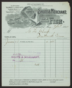 Billhead for Shute & Merchant, dry & pickled fish, Gloucester, Mass., dated September 29, 1898