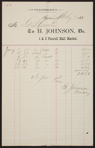 Billhead for B. Johnson, Dr., mutton, 1 & 3 Faneuil Hall Market, Boston, Mass., dated February 16, 1888