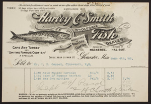 Billhead for Harvey C. Smith, wholesale fish dealer, 33 Main Street, Gloucester, Mass., dated June 4, 1902