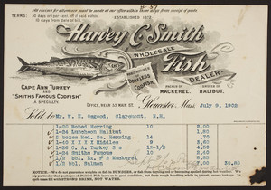 Billhead for Harvey C. Smith, wholesale fish dealer, 33 Main Street, Gloucester, Mass., dated July 9, 1902