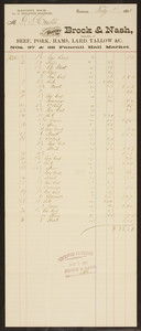 Billhead for Brock & Nash, beef, pork, hams, lard, tallow, Nos. 37 & 39 Faneuil Hall Market, Boston, Mass., dated February 1, 1888