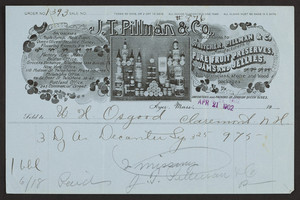 Billhead for J.T. Pillman & Co., pure fruit preserves, jams and jellies, Ayer, Mass., dated April 21, 1902