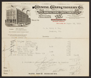 Billhead for Crystal Confectionery Co., manufacturing confectioners, Rutland, Vermont, dated September 10, 1919