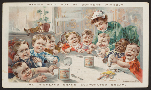 Trade card for Highland Brand Evaporated Cream, Helvetia Milk Condensing Co., Highland, Illinois, undated