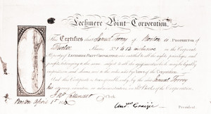 Stock certificate for the Lechmere Point Corporation, Boston, Mass., dated April 1, 1817