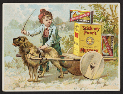 Trade cards for Stickney & Poor's Mustards, Spices and Extracts, 205 and 207 State Street, Boston, Mass., undated
