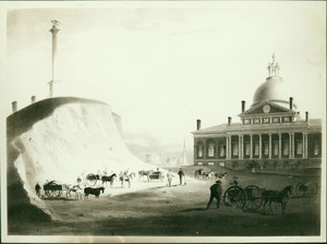 "Beacon Hill as seen ""from the present site of Reservoir"" between Hancock Street and Temple Street, Boston, Mass., undated"