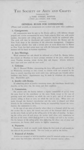 General rules for consignors, The Society of Arts and Crafts, 9 Park Street, Boston, Mass. and 7 West 56th Street, New York, New York, undated