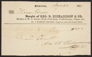 Billhead for Geo. B. Richardson & Co., groceries, No. 1 Market Square , Boston, Mass., dated May 23, 1839