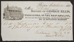 Billhead for George Ellis, provisions, No. 12 Boylston Market, Boston, Mass., dated October 18, 1851