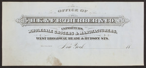 Billhead for H.K. & F.B. Thurber & Co., wholesale grocers & manufacturers, West Broadway, Reade & Hudson Streets, New York, New York, ca. 1800
