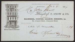 Billhead for F. Snow & Co., mackerel, codfish, salmon, herring, No. 4 Snow's Block, Commerce Street, Boston, Mass., dated December 8, 1857