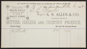 Billhead for A.N. Allen & Co., wholesale dealers in butter, cheese and country produce, 40 & 42 George Street, New Haven, Connecticut, dated March 6, 1893
