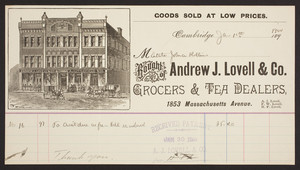 Billhead for Andrew J. Lovell & Co., grocers & tea dealers, 1853 Massachusetts Avenue, Cambridge, Mass., dated January 12, 1900