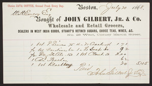 Billhead for John Gilbert, Jr. & Co., wholesale and retail grocers, No. 28 West, corner Mason Street, Boson, Mass., dated July 20, 1868