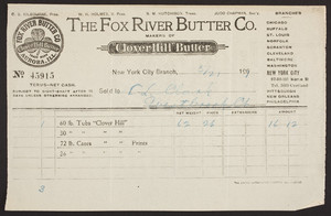 Billhead for The Fox River Butter Co., 97-99-101 Warren Street, New York City, New York, dated May 21, 1909