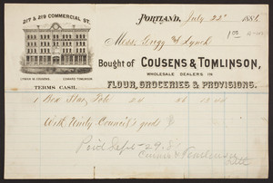 Billhead for Cousens & Tomlinson, wholesale dealers in flour, groceries & provisions, 217 & 219 Commercial Street, Portland, Maine, dated July 22, 1881