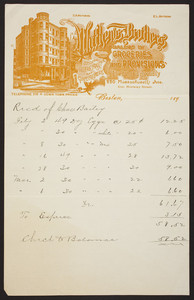 Billhead for Mathews Brothers, dealers in groceries and provisions, 220 Massachusetts Avenue, Boston, Mass., ca. 1890