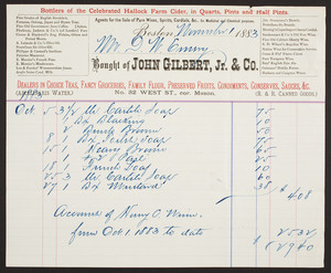 Billhead for John Gilbert, Jr. & Co., fancy groceries, No. 32 West Street, corner Mason, Boston, Mass., dated November 1, 1883