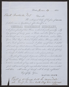 David Snow, general commission merchant, Constitution Wharf, Boston, Mass., dated June 17, 1853