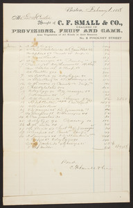 Billhead for C.F. Small & Co., provisions, fruit and game, No. 8 Pinckney Street, Boston, Mass., dated February 1, 1888