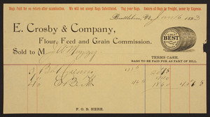 Billhead for E. Crosby & Company, flour, feed and grain commission, Brattleboro, Vermont, dated June 16, 1893