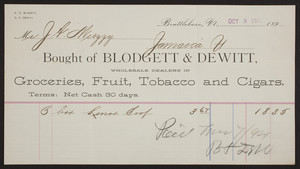 Billhead for Blodgett & Dewitt, groceries, fruit, tobacco and cigars, Brattleboro, Vermont, dated October 3, 1894
