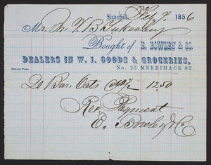Billhead for E. Bowley & Co., dealers in W.I. goods & groceries, No. 25 Merrimack Street, Haverhill, Mass., dated February 9, 1856