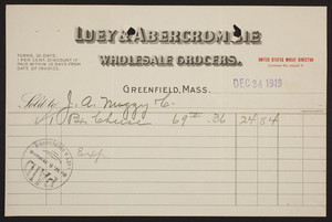 Billhead for Luey & Abercrombie, wholesale grocers, Greenfield, Mass., dated December 24, 1919