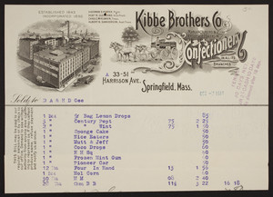 Billhead for Kibbe Brothers Co., confectionery, 33-51 Harrison Ave., Springfield, Mass., dated October 7, 1914