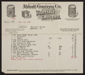 Billhead for Abbott Grocery Co., wholesale grocers, Keene, New Hampshire, dated July 14, 1926