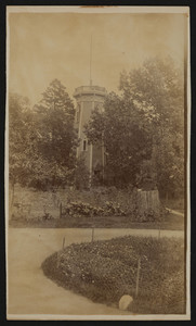 Exterior view of the water tower on the Elisha Dillingham Bangs Estate, at extreme edge, easterly of Central Street, Winchester, Mass., 1889