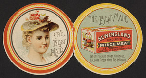 Trade card for New England Condensed Mince Meat, T.E. Dougherty Co., Chicago, Illinois and Port Byron, New York, 1891
