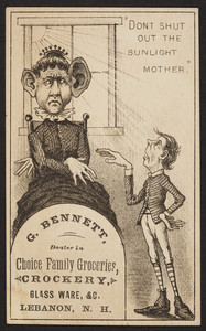 Trade card for G. Bennett, choice family groceries, Lebanon, New Hampshire, undated