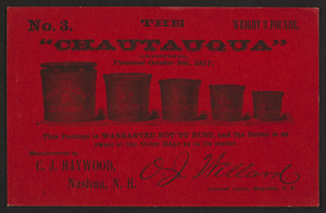 Trade card for Chautauqua No. 3, butter containers, C.J. Haywood, Nashua, New Hampshire, undated