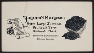 Trade card for Ingram I. Margeson, extra large currants, Fruitvale Farm, Thatcher and Clapboardtree Streets, Westwood, Mass., 1920-1940
