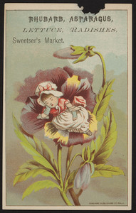 Trade card for Sweetser's Market, rhubarb, asparagus, lettuce, radishes, 6 Granite Street, Quincy, Mass., undated