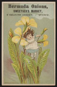 Trade card for Sweetser's Market, Bermuda onions, 6 Granite Street, Quincy, Mass., undated