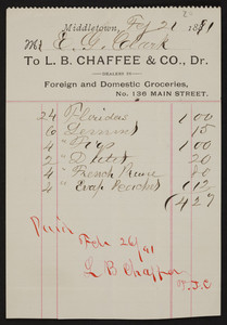 Billhead for L.B. Chaffee & Co., Dr., foreign and domestic groceries, No. 136 Main Street, Middletown, Rhode Island, dated February 21, 1891